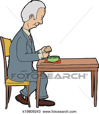 clipart homme manger table k19809243 recherchez des clip arts des illustrations des. Black Bedroom Furniture Sets. Home Design Ideas