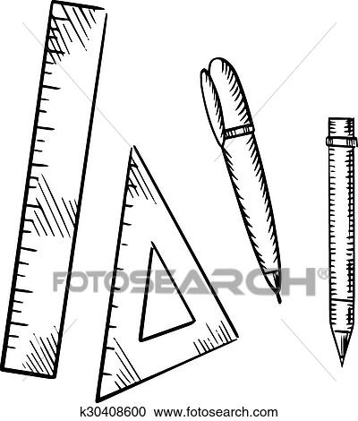 clipart of pencil pen triangle and ruler sketch icons k30408600 4 X 6 Picture Frames clipart pencil pen triangle and ruler sketch icons fotosearch search clip