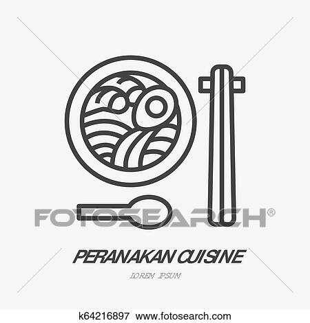 Peranakan Cuisine Flat Line Icon Vector Thin Sign Of Noodle Soup With Food Sticks Asian Cafe Logo Japanese Lunch Illustration Clip Art K64216897 Fotosearch