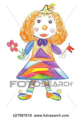 子供 図画 サーカスピエロ イラスト K27987616 Fotosearch