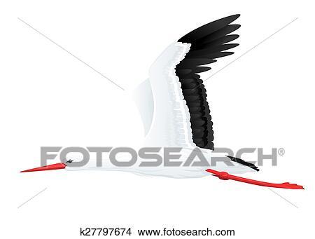 desenhos branca cegonha voando k27797674 busca de ilustrações