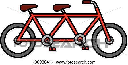 Carino Sede Due Bicicletta Tandem Icona Clip Art