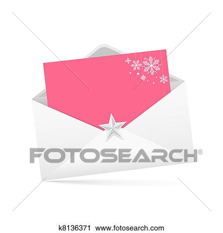 Clipart Of Envelope Letter And Pink Paper K8136371 Search Clip Art