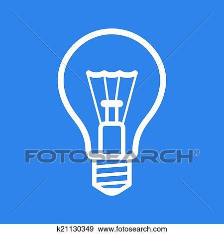 Clip Art - glühbirne, symbol, auf, blau, hintergrund., vektor ...