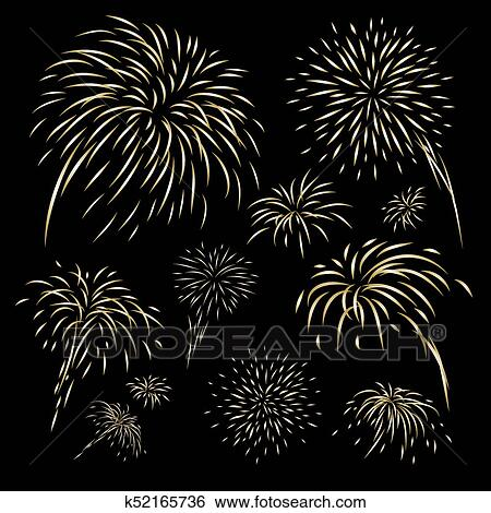 clip art gold fireworks design on black background vector illustration fotosearch search clipart