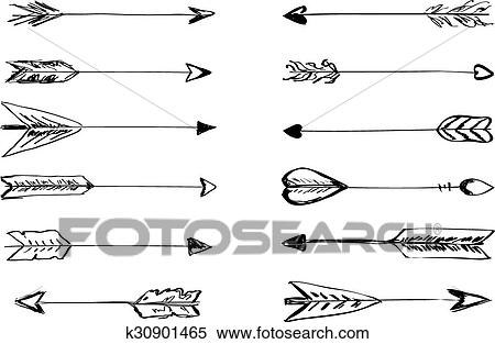 Hand Drawn Vector Arrows With Feathers Clipart K30901465 Fotosearch