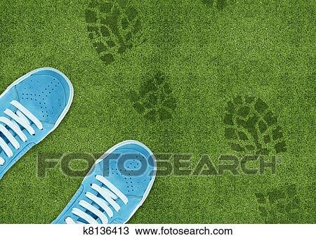 en Azul zapato grassland verde del impresión qHS0t1