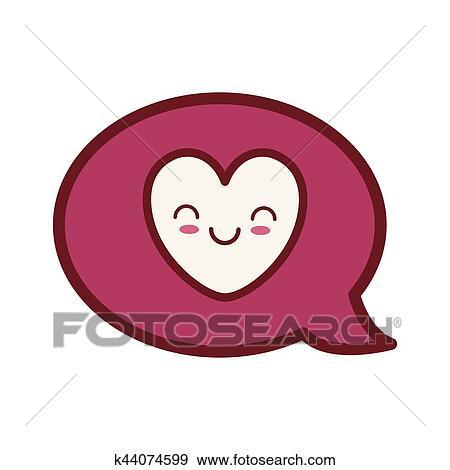 Kawaii Amour Valentin Jour Bulle Parole Clipart