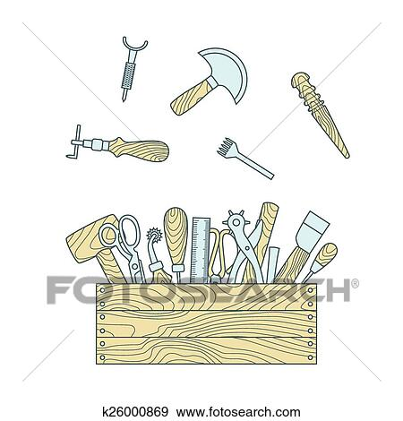 Clip Art Of Leather Craft Tools In Toolbox Vector Illustration