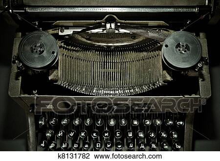 a75a6ad0443 Old vintage typewriter with russian keyboard Stock Image | k8131782 ...