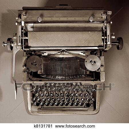 65e24feb375 Stock Photography of Old vintage typewriter with russian keyboard ...