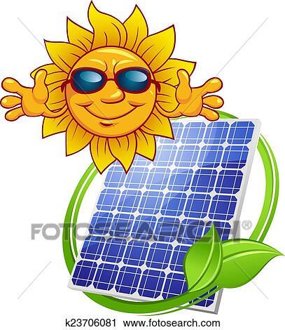 clipart of solar panel with cartoon sun k23706081 search clip art rh fotosearch com solar energy free clipart Hydroelectric Energy Clip Art