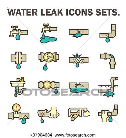 Clipart Of Water Leak Icon K37904634 Search Clip Art