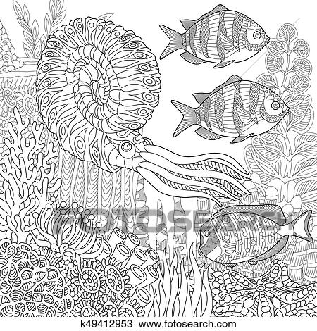 Clipart - zentangle, estilizado, submarino, escena k49412953 ...