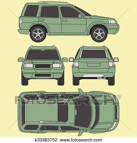 Clipart - auto, lastwagen, suv, 4x4, linie, ziehen, miete, schaden ...