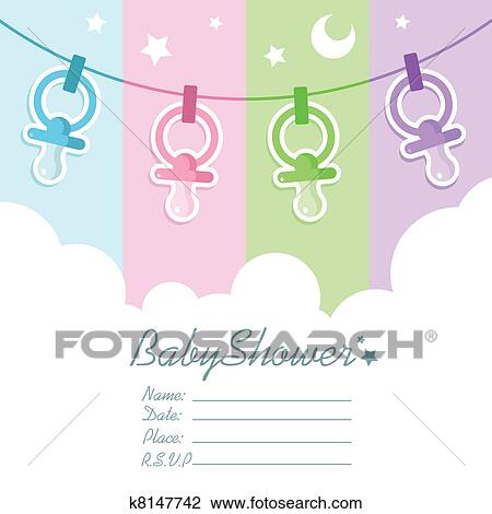 Baby Shower Invitation Cards Clipart K8147742 Fotosearch