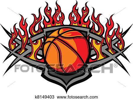 clipart bola basquetebol modelo com chama k8149403 busca de