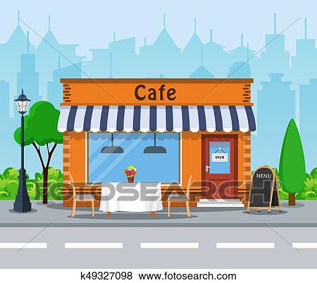 Cafe Shop Exterior Street Restraunt Building Cityscape Buildings Clouds Vector Illustration In Flat Style