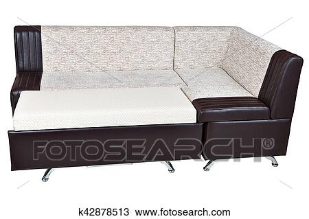 Corner sofa bed in imitation leather, furniture for kitchen ...