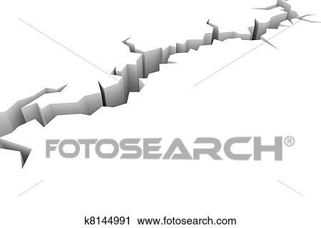 Clipart   Earth Ground Crack On White. Earthquake.. Fotosearch   Search  Clip Art