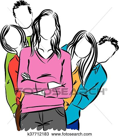 clipart of group of people illustration k37712183 search clip art rh fotosearch com group of people clip art free Group of Business People Clip Art