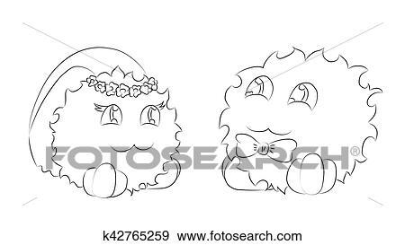 Clip Art - lindo, monstruos, novia y novio, libro colorear k42765259 ...