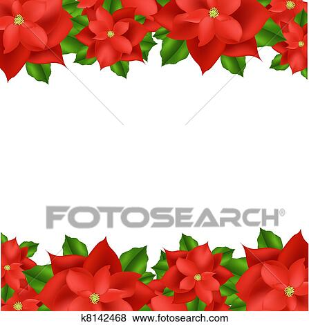 2 red poinsettia border isolated on white background vector illustration