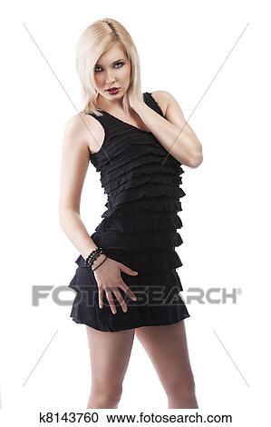 Vestido negro con cuello blanco nina