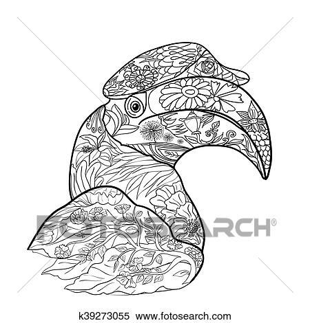 Clipart - strichzeichnung, für, färbung, von, groß, nashornvogel ...