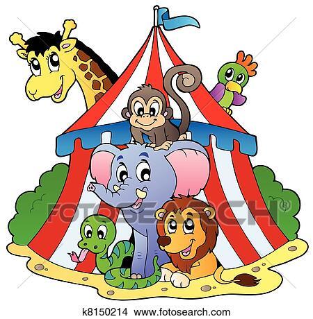 様々 動物 中に サーカスのテント クリップアート 切り張り