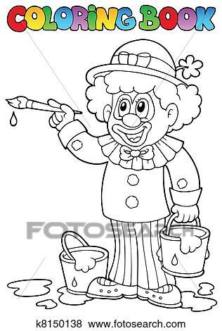 Clip Art Ausmalbilder Mit Heiter Clown 2 K8150138 Suche