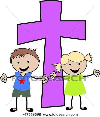 Christian children with cross Clip Art   k47558598 ...
