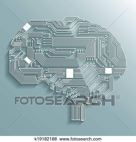 Clip Art of Circuit board brain k19182188 - Search Clipart ...