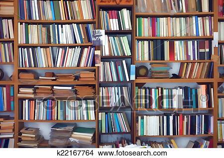 Kleurrrijke Boekenkast Fotobehang : Tekeningen digitaal gecreëerde boekenkast k zoek