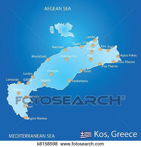 Island Of Kos In Greece Map Clip Art K8158598 Fotosearch