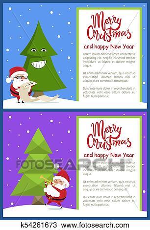 Photos De Joyeux Noel Et Bonne Annee.Joyeux Noel Bonne Annee Affiche Santa Arbre Clipart