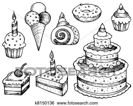 clipart - gâteaux, dessins, collection k8150136 - recherchez des