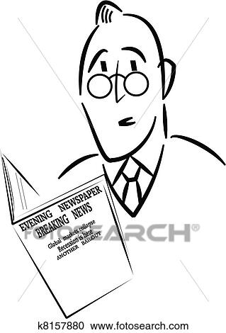 Man Reading News Paper Clipart K8157880
