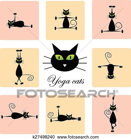 Nero Gatti Fare Yoga Clipart K27498240 Fotosearch