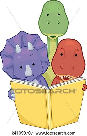 Baby Dinosaurs Book Read Clip Art K41090707 Fotosearch