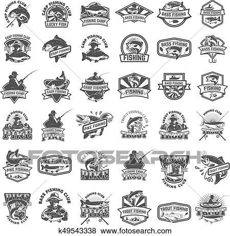 Clip Art Of Big Set Of Fishing Icons Carp Fishing Trout Fishing