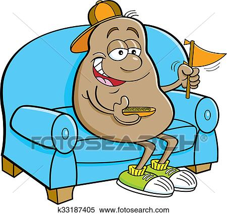 stock image of cartoon potato sitting on a couch k33187405 search rh fotosearch com