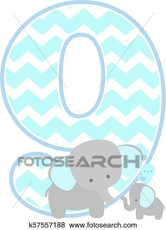 Elefantenbaby Alphabet 9 Clip Art