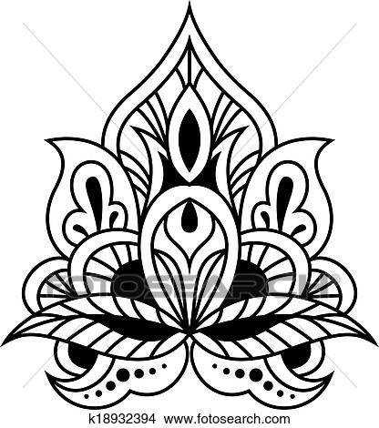 Clipart - fett, schwarz weiß, blumen-, persisch, design k18932394 ...