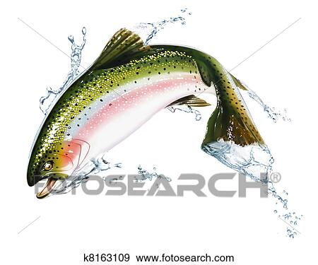 Stock Illustration of Fish jumping out of the water, with some splashes. k8163109 - Search ...
