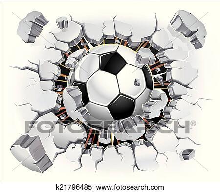 Fussball Ball Und Alt Pflastermauer Clipart K21796485