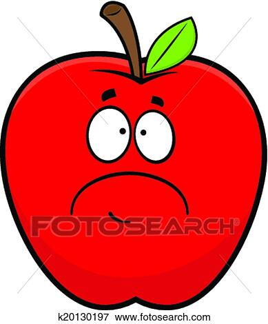 Clipart dessin anim triste pomme rouge k20130197 - Dessin triste ...