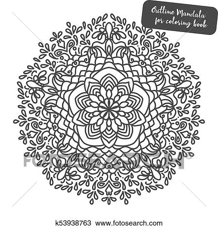 Mandala. Coloring book pages. Indian antistress medallion. Abstract islamic  flower, arabic henna design, yoga symbol Clipart