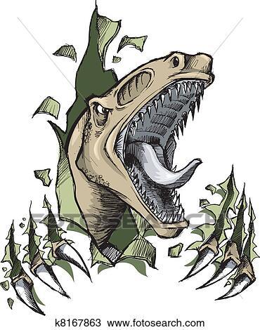 clipart of sketch doodle raptor dinosaur k8167863 search clip art rh fotosearch com Raptor Clip Art Black and White Raptor Clip Art Black
