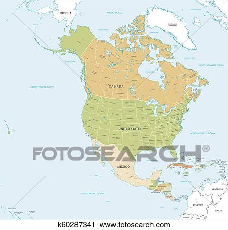 Vector map of North and Central America Clipart